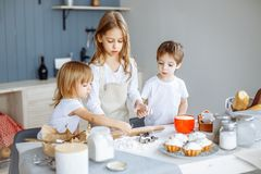 Kids making cookies in the kitchen. stock photo