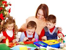 Kids making decoration for Christmas. Stock Photography