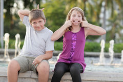 Kids making funny face Royalty Free Stock Photo