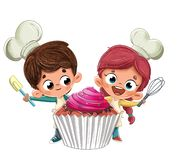 Kids making a happy cupcake