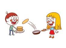 Kids making pancakes Stock Image