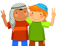 Kids making peace. Muslim boy and Jewish boy being friends Royalty Free Stock Image