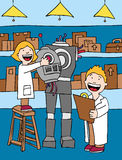 Kids making Robot royalty free illustration