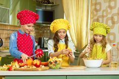 Kids making salad. royalty free stock photo