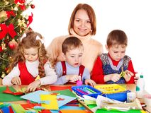 Kids making Santa card for Christmas. Children boy and girl making Santa card for Christmas Royalty Free Stock Photo