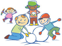 Kids making a snow man isolated Royalty Free Stock Photo
