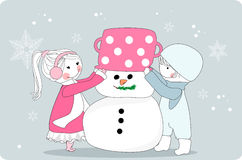 Kids making snowman. Vector illustration of kids making snowman Royalty Free Stock Photos