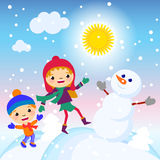 Kids making a snowman on a sunny day vector illustration Stock Photos