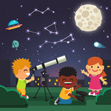 Kids making telescope astronomical observations Stock Photos