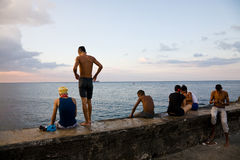 Kids, Malecon, Havana Royalty Free Stock Photo