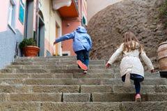 Kids in Manarola village in Cinque Terre Royalty Free Stock Image