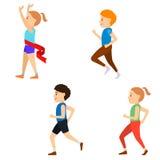 Kids Marathon set. Set of Kids Marathon. Healthy lifestyle.  Vector illustration. Healthy  children runnig Stock Photo