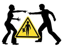 Kids and Marital Fight. Be aware, that children suffer, when parents are fighting Stock Photo
