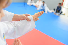 Kids in martial arts lesson. Kids in a martial arts lesson Stock Photo
