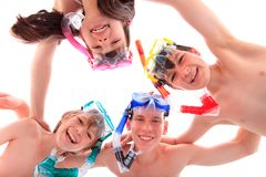 Kids with masks and snorkels Royalty Free Stock Images