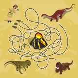 Kids maze. Labyrinth of dino way. Help the researcher find traces of dinosaurs vector illustration