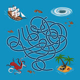 Kids maze. Labyrinth treasure hunters. Help the ship find the way to the island. Vector illustration Royalty Free Stock Photography
