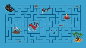 Free Kids Maze. Pirate Game With Labyrinth. Help Ship Find Way To Island. Cartoon Puzzle. Sea Map With Fantasy Monsters Stock Photography - 169886582