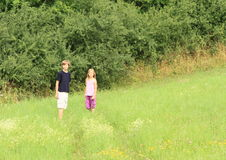 Kids on meadow Royalty Free Stock Photography