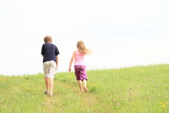 Kids on meadow. Little kids - boy and girl walking on meadow Royalty Free Stock Image