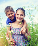 Kids in a meadow Stock Photography