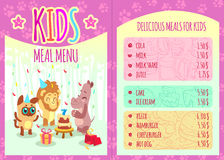 Kids meal menu with animal characters. Vector Stock Image