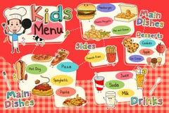 Kids Meal Menu. A vector illustration of colorful kids meal menu vector illustration