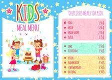 Kids meal menu. Vector template brochure Stock Photos