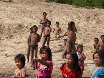 Kids at a Mekong Village  / Laos Royalty Free Stock Images