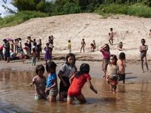 Kids at a Mekong Village  / Laos Stock Photo