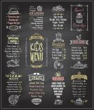 Kids menu chalkboard designs set. Ice cream, desserts, soups, breakfast, pizza menu, main dishes. Hand drawn vector illustration Royalty Free Stock Image