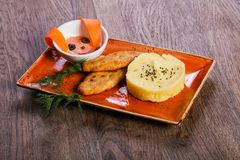 Kids menu - chicken breast. With mushed potato royalty free stock photos