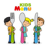 Kids menu. Children with knife, spoon and fork Royalty Free Stock Photos