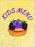 Kids menu cover template. VECTOR illustration. Cupcake on theard background. Yellow color, blue, purple. Royalty Free Stock Image