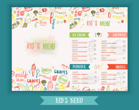 Kids menu Cute colorful hand drawn vector template. Kids menu design for party, cafe. Creative kids menu banner. Stock Photo