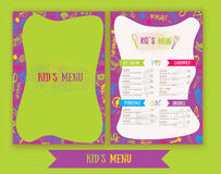 Kids menu Cute colorful hand drawn vector template. Kids menu design for party, cafe. Creative kids menu banner. Stock Image