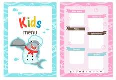 Kids menu design. Kids menu card with shark dressed as cook. Cute colorful kids meal restaurant menu vector template Stock Image