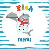 Kids menu design. Fish menu card with shark dressed as cook. Cute colorful kids meal restaurant menu vector template. Background with blue stripes Stock Photography