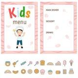 Kids menu design. Kids menu card with cute cartoon chief cooker. Cute colorful kids meal restaurant menu vector template Stock Photos