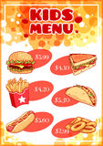 Kids Menu for fast-food. Royalty Free Stock Photography