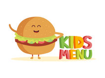 Kids Menu funny 3d sign with burger characters.  Stock Image