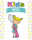 Kids menu. Girl with spoon Stock Photography