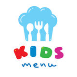 Kids Menu logo with chefs hat spoon fork and knife Stock Images