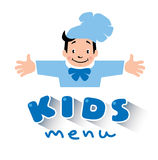 Kids Menu logo with funny cook boy Royalty Free Stock Photo