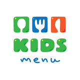 Kids Menu logo with funny spoon, fork and knife Stock Photos