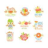 Kids menu, natural food logo original, colorful creative template vector stock illustration