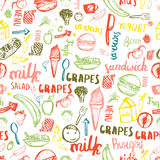 Kids menu seamless pattern. Kids menu creative design for wrapping, banners. Kids menu vector template. Stock Images