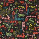 Kids menu seamless pattern. Kids menu creative design for wrapping, banners. Kids menu vector template on dark Stock Photography