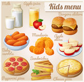 Kids menu. Set of cartoon vector food icons. Milk, apple juice, burger sliders, baby carrots, mandarin oranges, apple slices, pepperoni and cheese pizza royalty free illustration
