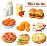 Kids menu. Set of cartoon vector food icons on white background. Milk, apple juice, burger sliders, baby carrots, mandarin oranges, apple slices, pepperoni and royalty free illustration